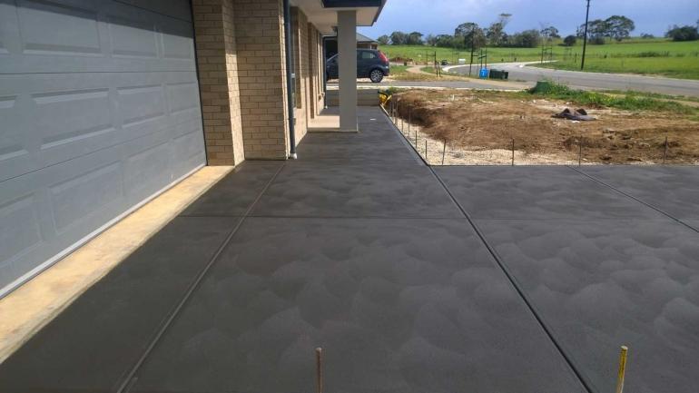 coloured concrete driveway